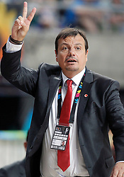 09.09.2014, City Arena, Barcelona, ESP, FIBA WM, Litauen vs Türkei, Viertelfinale, im Bild Turkey's coach Ergin Ataman // during FIBA Basketball World Cup Spain 2014 quarterfinal match between Lithuania and Turkey at the City Arena in Barcelona, Spain on 2014/09/09. EXPA Pictures © 2014, PhotoCredit: EXPA/ Alterphotos/ Acero<br /> <br /> *****ATTENTION - OUT of ESP, SUI*****