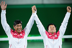 Shingo Kunieda (R) and Satoshi Saida of Japan celebrate winning the bronze medal at Victory ceremony after the Tennis Men's Doubles Gold Medal Match during Day 8 of the Rio 2016 Summer Paralympics Games on September 15, 2016 in Olympic Tennis Centre, Rio de Janeiro, Brazil. Photo by Vid Ponikvar / Sportida