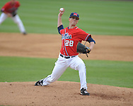 Ole Miss Mike Mayers (28) pitches vs. Houston at Oxford-University Stadium in Oxford, Miss. on Sunday, March 11, 2012. Ole Miss won 11-3 to sweep the three-game series. Mayers got the win.