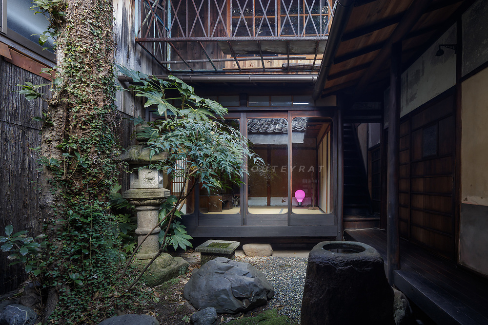 Kyoto, Japan, Februaray 18 2018 - Anewal Gallery, a  120 year-old traditional Kyo-machiya (wholesale store and house) renovated and used as an art space.