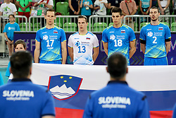 Players of Slovenia before volleyball match between National teams of Slovenia and Belgium in 2nd Round of 2018 FIVB Volleyball Men's World Championship qualification, on May 28, 2017 in Arena Stozice, Ljubljana, Slovenia. Photo by Morgan Kristan / Sportida