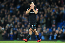 3rd December 2017 - Premier League - Manchester City v West Ham United - Pablo Zabaleta of West Ham blows a kiss to the home fans after the match - Photo: Simon Stacpoole / Offside.