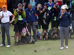 USA's Jordan Spieth asks the crowd to be quiet after he repositions his ball on the driving range behind the 13th after hitting it into heavy rough during day four of The Open Championship 2017 at Royal Birkdale Golf Club, Southport.