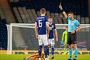 Scotland's Scott McTominay (Manchester United) receives a yellow card for his challenge on Dries Mertens (SSC Napoli)  during the UEFA European 2020 Qualifier match between Scotland and Belgium at Hampden Park, Glasgow, United Kingdom on 9 September 2019.