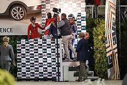 Team Belgium, Demeersman Dirk, Philippaerts Olivier, Melchior Judy Ann, Lansink Jos, Philippaerts Ludo, Rydant Hymne<br /> Final<br /> Furusiyya FEI Nations Cup Jumping Final - Barcelona 2015<br /> © Dirk Caremans<br /> 26/09/15