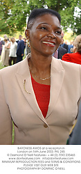 BARONESS AMOS at a reception in London on 16th June 2003.PKL 245