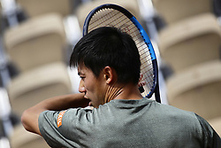 May 22, 2019 - Paris, France - Kei Nishikori of Japan during training session agaist Fernando Verdasko of Spain on Suzanne Lenglen court in the preparations of Ronald Garros finals in Paris, France, on 22 May 2019. (Credit Image: © Ibrahim Ezzat/NurPhoto via ZUMA Press)