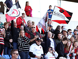 Saracens fans celebrate - Photo mandatory by-line: Robbie Stephenson/JMP - Mobile: 07966 386802 - 16/05/2015 - SPORT - Rugby - Oxford - Kassam Stadium - London Welsh v Saracens - Aviva Premiership