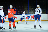 PENTICTON, CANADA - SEPTEMBER 9: Austin Glover #67 of Edmonton Oilers takes a shot during morning skate on September 9, 2017 at the South Okanagan Event Centre in Penticton, British Columbia, Canada.  (Photo by Marissa Baecker/Shoot the Breeze)  *** Local Caption ***