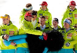 Mitja Valencic, Andrej Jerman, Miha Kuerner, Janez Jazbec, Marusa Ferk and Ilka Stuhec with mascot Xobi during media day of Slovenian Alpine Ski team on October 17, 2011, in Rudno polje, Pokljuka, Slovenia. (Photo by Vid Ponikvar / Sportida)