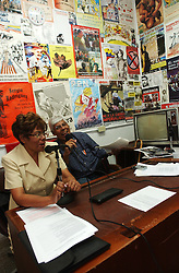 "Jose Ovalles,right, and Elida Polanco co-host the radion program ""Searching for America"" on Radion Perola, a community radio station in western Caracas.  This episode of the show was mostly focused on pro-Chavez and anti-US rhetoric.  Chavez and his government have been increasingly supportive of these Chavista community media stations as a response to the anti-chavista private media."