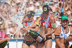 03.08.2013, Klagenfurt, Strandbad, AUT, A1 Beachvolleyball EM 2013, Finale Damen, Spiel 72, im Bild Stefanie Schwaiger 1 AUT mitte, Doris Schwaiger 2 AUT, rechts Laura Ludwig 1 GER / Kira Walkenhorst 2 GER // during Gold Medal Match match 72 of the A1 Beachvolleyball European Championship at the Strandbad Klagenfurt, Austria on 2013/08/03. EXPA Pictures © 2013, EXPA Pictures © 2013, PhotoCredit: EXPA/ Mag. Gert Steinthaler