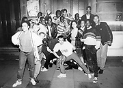 Large group outside Camden Town Hall for Youth Against Apartheid event, London, UK, 1986