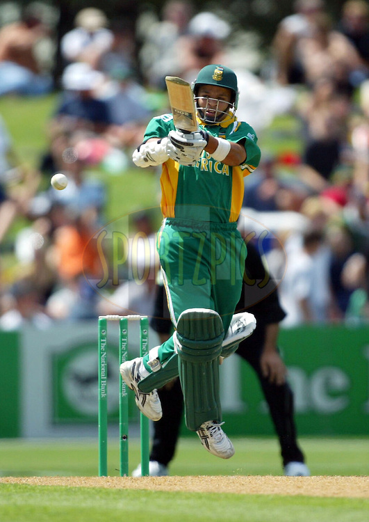 17 March 2004. New Zealand vs South Africa International one day cricket at McLean Park, Napier, New Zealand. Match 6 in series of 6..South African batsman Ashwell Prince hooks a delivery during his innings 47. Prince's 47 was the highest score of the South African innings. At the end of 50 overs and at the tea break South Africa were 186 for the loss of 9 wickets..Pic: Andrew Cornaga/Photosport