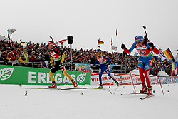 11.12.2011, Biathlonzentrum, Hochfilzen, AUT, E.ON IBU Weltcup, 2. Biathlon, Hochfilzen, Staffel Herren, im Bild erster einlauf zum wechsel mit Schempp Simon (Team Germany) Lindstroem Fredrik (Team Sweden) Maric Janez (Team Slovenia) // during Team Relay  E.ON IBU World Cup 2th Biathlon, Hochfilzen, Austria on 2011/12/11. EXPA Pictures © 2011. EXPA Pictures © 2011, PhotoCredit: EXPA/ nph/ Straubmeier..***** ATTENTION - OUT OF GER, CRO *****