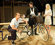 The Village Bike<br /> by Penelope Skinner<br /> directed by Joe Hill-Gibbins<br /> at The Royal Court Theatre, London, Great Britain <br /> press photocall<br /> 30th June 2011<br /> <br /> Phil Cornwell (as Mike)<br /> Dominic Rowan (as Oliver)<br /> Romola Garai (as Becky)<br /> <br /> Photograph by Elliott Franks