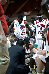 09 January 2007: Porter Moser issues instructions during a time out. The Illinois State Redbirds, winless in the Missouri Valley Conference, knocked off the undefeated  Panthers of Northern Iowa 67-64 in overtime at Redbird Arena in Normal Illinois on the campus of Illinois State University.<br />