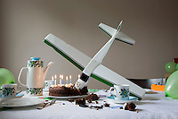 Model airplane flown into birthday cake
