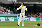 Tim Paine of Australia throws his baggy green cap during the International Test Match 2019 match between England and Australia at Lord's Cricket Ground, St John's Wood, United Kingdom on 18 August 2019.