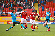 Charlton Athletic defender Nathan Byrne (21) plays a pass out wide during the EFL Sky Bet League 1 match between Charlton Athletic and Fleetwood Town at The Valley, London, England on 4 February 2017. Photo by Andy Walter.