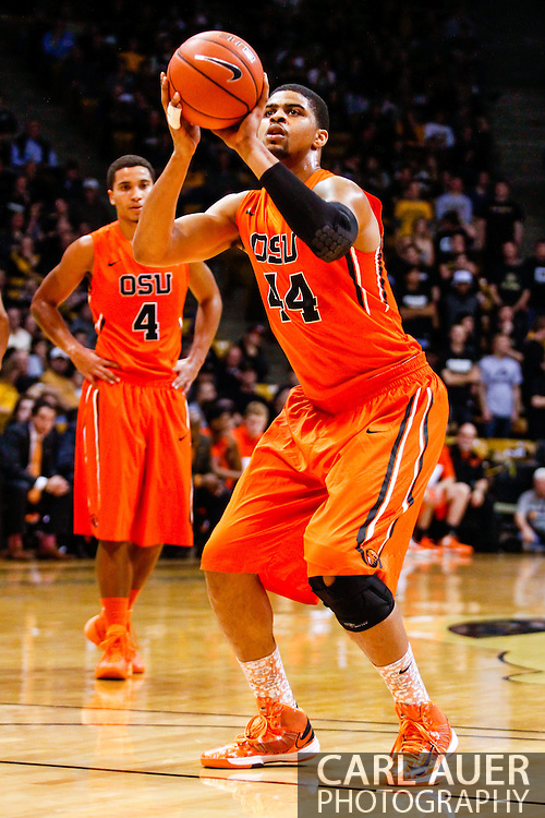 January 2nd, 2014:  Oregon State Beavers senior forward Devon Collier (44) attempts a free throw in the first half of the NCAA Basketball game between the Oregon State Beavers and the University of Colorado Buffaloes at the Coors Events Center in Boulder, Colorado