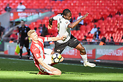 Gareth Dean of Brackley Town (6) and Brandon Hanlan of Bromley FC (9) battle for the ball during extra time of the FA Trophy match between Brackley Town and Bromley at Wembley Stadium, London, England on 20 May 2018. Picture by Stephen Wright.