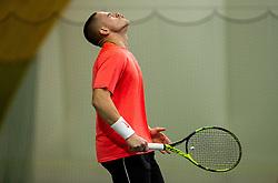 Maks Lukman reacts during Slovenian National Tennis Championship 2019, on December 21, 2019 in Medvode, Slovenia. Photo by Vid Ponikvar/ Sportida