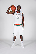 September 28, 2016: Davon Reed #5 poses during  Miami Hurricanes Men's Basketball Photo Day in Coral Gables, Florida.