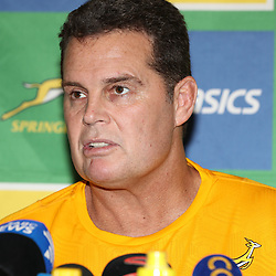 DURBAN, SOUTH AFRICA - AUGUST 16: Rassie Erasmus (Head Coach) of South Africa during the South African national rugby team announcement at  Garden Court Umhlanga on August 16, 2018 in Durban, South Africa. (Photo by Steve Haag/Gallo Images)