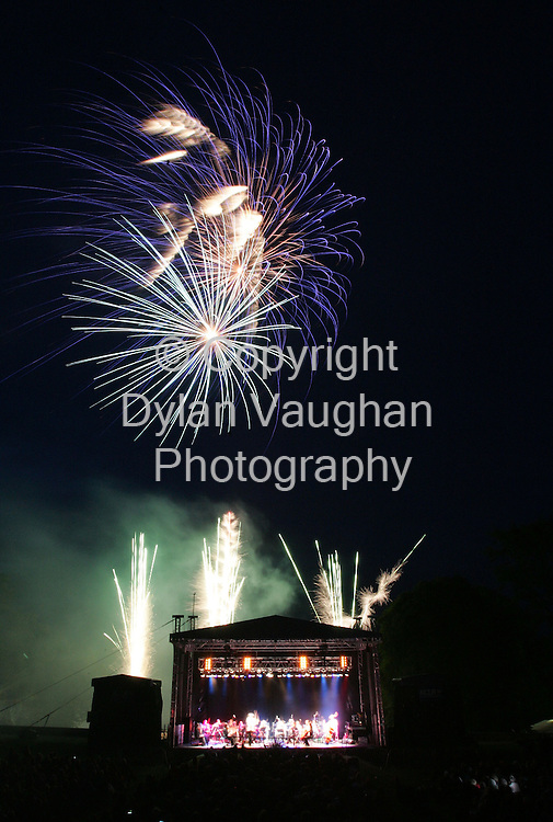 8/8/2004.The Northern Chamber Orchestra and Walk the Plank pyrotechnics pictured performing Handel's Music for the Royal Fireworks at the opening concert of the Kilkenny Arts Festival at Woodstock House and Gardens in Inistioge County Kilkenny on Saturday Night..Picture Dylan Vaughan