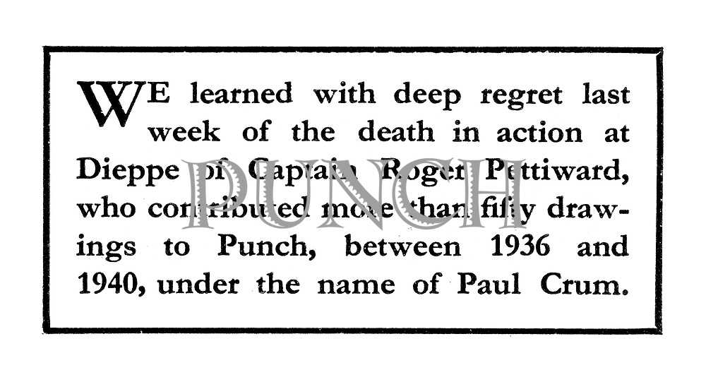 Death Notice: Roger Pettiward (cartoonist Paul Crum).