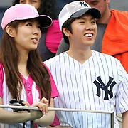 Fans watch batting practice before the New York Yankees V Boston Red Sox baseball game at Yankee Stadium, The Bronx, New York. 13th April 2014. Photo Tim Clayton