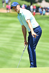 June 24, 2017 - Cromwell, Connecticut, U.S - Jordan Spieth reacts to his putt on the first green during the third round of the Travelers Championship at TPC River Highlands in Cromwell, Connecticut. (Credit Image: © Brian Ciancio via ZUMA Wire)