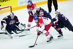 Martin Erat of Czech Republic and Jakub Voracek of Czech Republic vs Connor Hellebuyck of USA, Justin Faulk of USA and Dylan Larkin of USA during Ice Hockey match between USA and Czech Republic at Third place game of 2015 IIHF World Championship, on May 17, 2015 in O2 Arena, Prague, Czech Republic. Photo by Vid Ponikvar / Sportida
