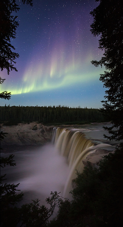 Showers of Aurora above Alexandra Falls