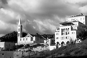 Jaffa, Israel gentrification and building project in black and white