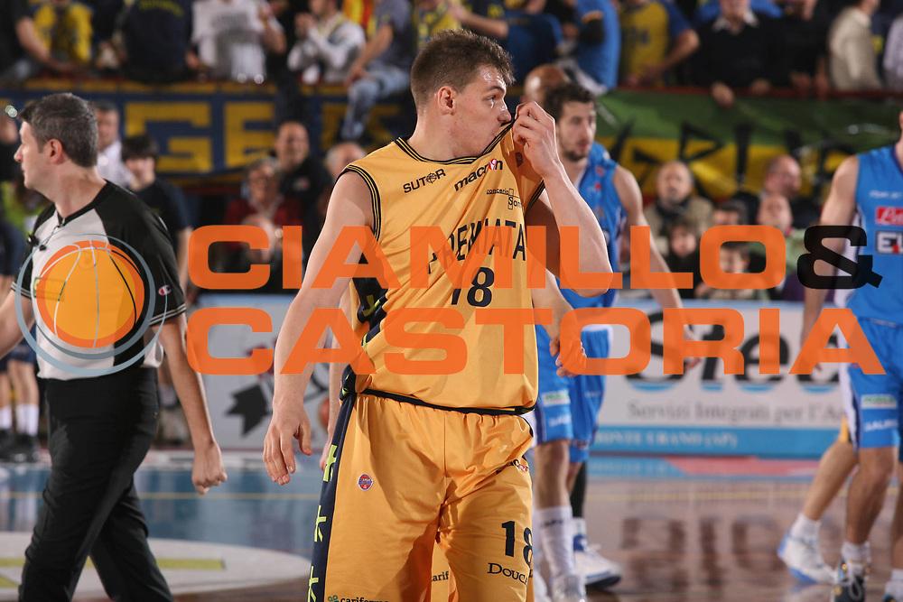 DESCRIZIONE : Porto San Giorgio Lega A1 2007-08 Premiata Montegranaro Eldo Napoli <br /> GIOCATORE : Luca Lechthaler <br /> SQUADRA : Premiata Montegranaro <br /> EVENTO : Campionato Lega A1 2007-2008 <br /> GARA : Premiata Montegranaro Eldo Napoli <br /> DATA : 23/02/2008 <br /> CATEGORIA : Delusione <br /> SPORT : Pallacanestro <br /> AUTORE : Agenzia Ciamillo-Castoria/G.Ciamillo