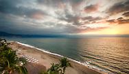 The sun sets off the coast of Puerto Vallarta, Mexico on February 23, 2013.