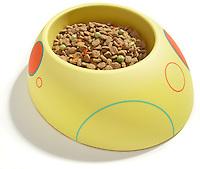 yellow designer ceramic pet food bowl