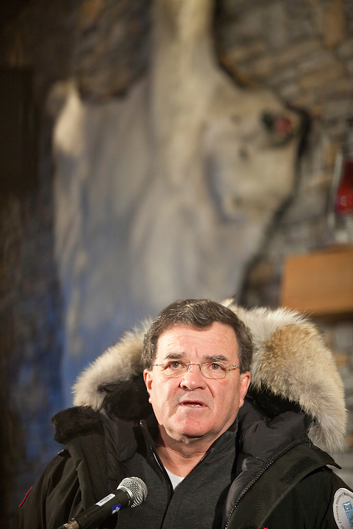 Canada's Finance Minister Jim Flaherty speaks to a reporters during a press conference in Iqaluit, Nunavut, Canada, February 5, 2010 as G7 Finance Ministers assemble in the northern community for a meeting. <br /> AFP/GEOFF ROBINS/STR