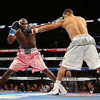 """Light Heavyweight and WBC ranked #3 Humberto """"El Don"""" Savigne (right) fights against Jeff Lacy during the """"Judgement Day"""" boxing event at American Airlines Arena on Thursday, July 10, 2014 in Miami, Florida.  (AP Photo/Alex Menendez)"""