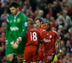 LIVERPOOL, ENGLAND - Saturday, January 26, 2008: Liverpool's Peter Crouch celebrates scoring the fifth goal against Havant and Waterlooville with Dirk Kuyt and Ryan Babel during the FA Cup 4th Round match at Anfield. (Photo by David Rawcliffe/Propaganda)