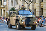 Australian Army Bushmaster Protected Mobility Vehicle army truck during Brisbane ANZAC day 2014 parade