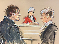 An artist's impression of the court case, today 31st January 2018.<br /> Darren Osborne (L) explains himself to the Judge centre.<br /> Jonathan Rees (R) is the Prosecuting QC