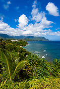Hideaways Beach and lush coastline from Princeville, Island of Kauai, Hawaii USA