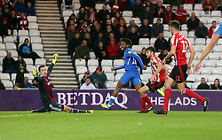 Ivan Toney of Peterborough United scores his sides equalising goal past Jon McLaughlin of Sunderland - Mandatory by-line: Joe Dent/JMP - 02/10/2018 - FOOTBALL - Stadium of Light - Sunderland, England - Sunderland v Peterborough United - Sky Bet League One