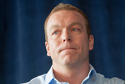 Six-time Olympic gold medallist Sir Chris Hoy announces his retirement from cycling at a news conference at Murrayfield, Edinburgh..© Michael Schofield.