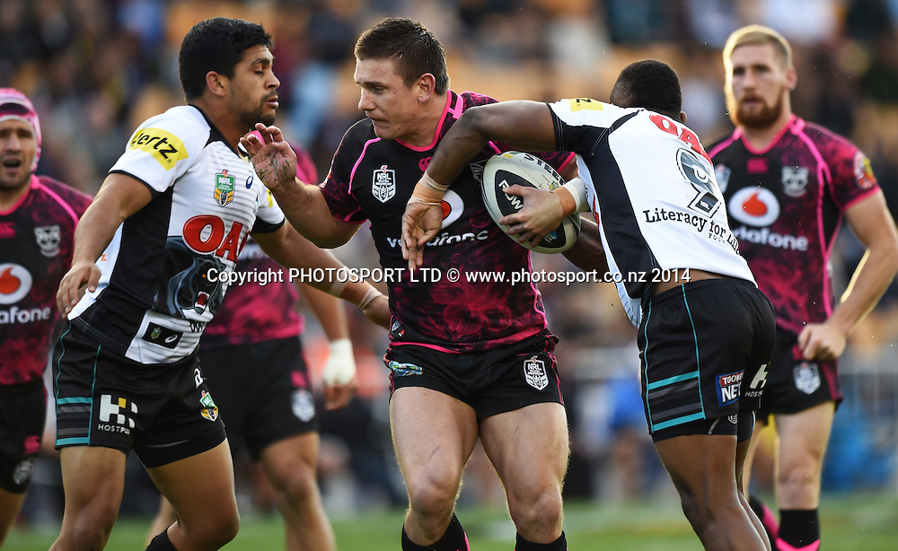 Jacob Lillyman on the attack. Vodafone Warriors v Penrith Panthers. NRL Rugby League. Mt Smart Stadium, Auckland, New Zealand. Sunday 29 June 2014. Photo: Andrew Cornaga/www.Photosport.co.nz