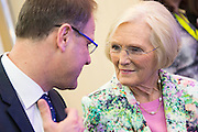 Tibor Navracsis, European Commissioner for Education and Culture talks to Mary Berry - London Book Fair, Olympia, London, UK, 14 Apr 2015.