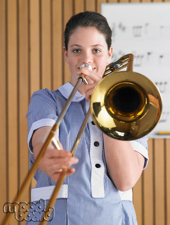 High School Student Practicing Trombone